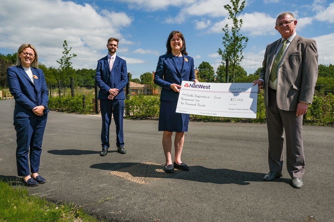 Cannock Chase Crematorium £10,000 donation to South Staffordshire Cruse Bereavement Care